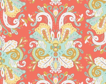 Coral Mint Yellow and Gold Voile, Anna Elise by Bari J for Art Gallery Fabrics, Poetic Saddle in Vibes, 1 Yard Voile
