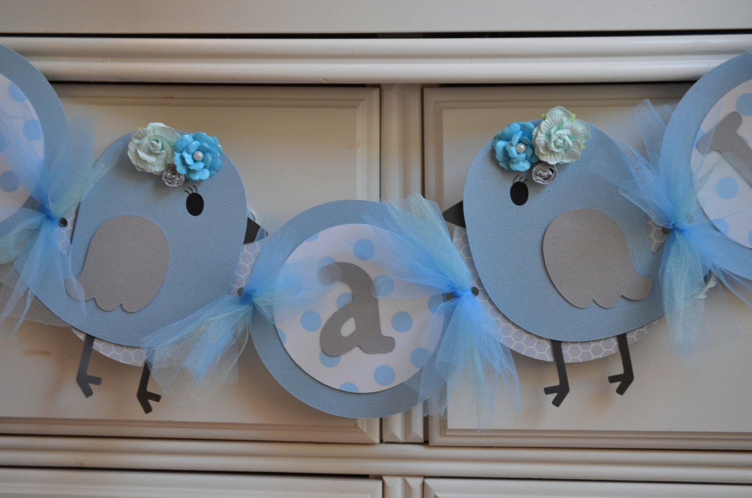 cinderella blue bird baby shower banner gray blue its by lovesews