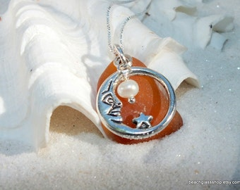Brown Beach Glass Pendant - Sterling Necklace - Seaglass Necklace - Beach Glass