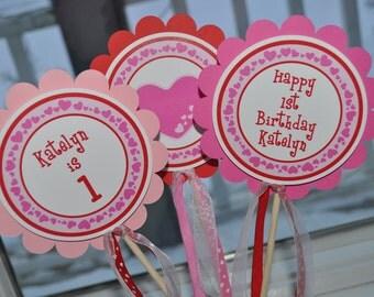 Valentine Birthday Centerpiece Sticks - Valentine's Day Birthday Party - February Birthday - Heart Birthday Decorations - Set of 3