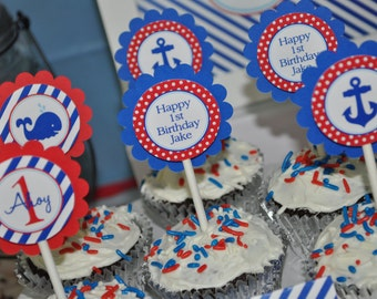 Nautical 1st Birthday Cupcake Toppers - Boys 1st Birthday Decorations - Birthday Cupcake Toppers - Whales and Anchors - Set of 12