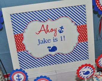 Nautical 1st Birthday Print - 8x10 Sign - Boys 1st Birthday Decorations - Nautical Birthday Party - Whales and Anchors