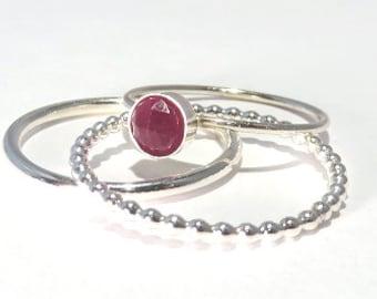Ruby Rings, Ruby Stacking Set, Silver Ruby rings, gemstone stacking rings, July Birthstone rings, July gemstone rings, sterling rings