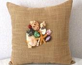 Seashell Pillow Cover, Seashells Home Decor, Pillow with Real Seashells, Seashell Decor, Beach Cottage Decor, Beach Home Decor,