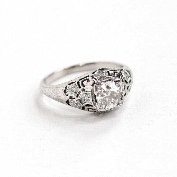 Antique 20k White Gold Art Deco 72 CTW Diamond Ring 1920s