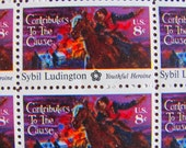 Youthful Heroine Full Sheet of 50 Vintage UNUsed US Postage Stamps 8c 1975 American Bicentennial Sybil Ludington Colonial Girl Power Horse