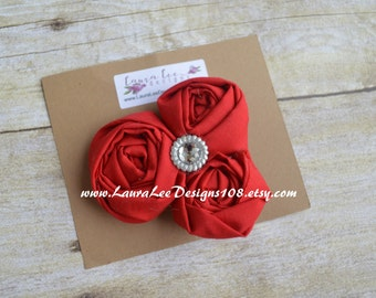 READY TO SHIP Red Triple Cluster Rolled Flowers Hair Clip