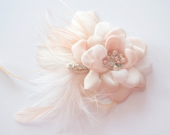 BEST SELLER, Blush Bridal Hair Flower, Fascinator, Vintage Headpiece, Fabric Flower, Blush feathers, Blush Flower, pearl, crystal,Style B010