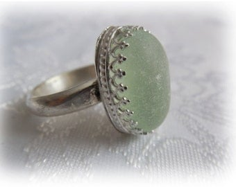 STERLING SILVER Sea Glass Rings