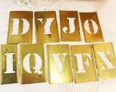 "4"" Brass Stencil Letters, Vintage"