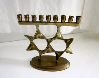 Modernist Brass Menorah brutalist Chanukah  candle holder Jewish Judaica Star David