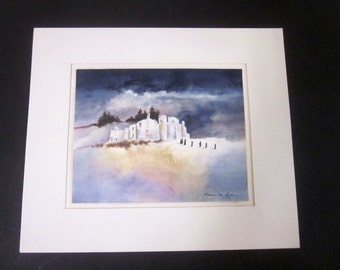 MADELEINE KINEL signed Watercolor Original Painting art titled Pilgrimmage soulful religious