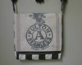 Messenger Laptop Bag Upcycled from Vintage Feed Sack and Charcoal White Striped Canvas