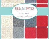 """ON SALE Fire & Ice Red Gray Batiks  Moda Quilt Fabric Moda Charm Pack 42 squares 5"""" x 5"""""""