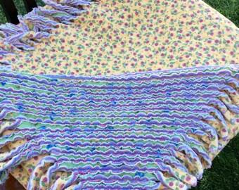 Chenille Rag Quilt Lap Blanket