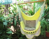 Beige and yellow Sitting Model 2 Hammock with Fringe, Hanging Chair Natural Cotton and Wood