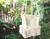 Beige Color Happy Baby, Chair Hammock for Children Handmade Furniture