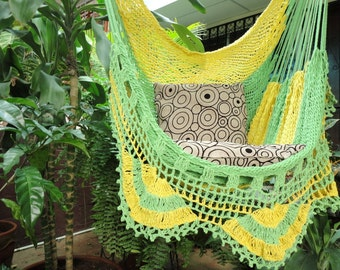 Yellow Light Green Sitting Hammock, Hanging Chair Natural Cotton and Wood plus Simple Fringe