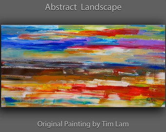 """Abstract Painting Original Art huge Impasto Texture modern oil painting  Surreal construction on linen canvas by Tim Lam 48""""  x 24"""""""