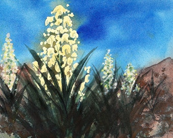 New Mexico Yucca, Watercolor Original, State Flower, Yellow, White