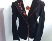 SALE!! Folksy Vintage Velvet/Velour Black Embroidered Blazer, Bohemian Chic