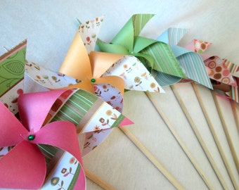 Paper Pinwheels Birthday Favors Birthday Favors 16 Twirling Pinwheels Party Favors Baby Shower Favors Table Centerpiece Photo Props