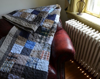 Quilt UpCycle Men's Plaid Dress Shirt Quilt RePurpose ReUse FULL SIZE Blues Grays Blacks and Browns Made to Order