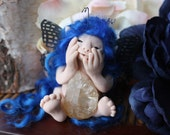 Ooak Blue haired faerie holding Crystal art doll
