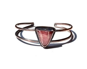 Boho Stone Cuff Bracelet - Copper and Rhodochrosite - Pink Gemstone Cuff
