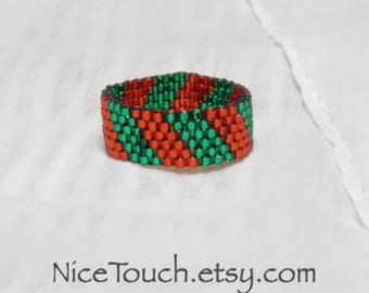 SUMMER SALE!!! Free Shipping or Save 20% ~ Christmas Time shiny red and green striped peyote beaded ring ~ Made to Order