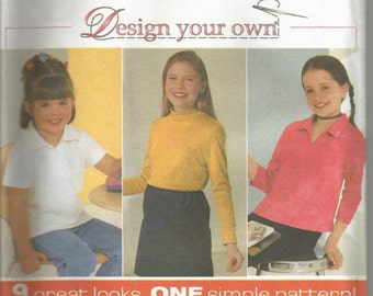 Girls Knit Top Pattern Nine Styles Pullover Style Sleeve Variations Collar Variations Simplicity 9362 Uncut FF Girl's Sewing Pattern