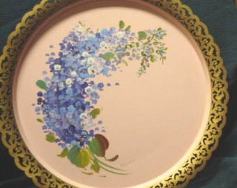Vintage Serving Tray Nashco Pink with Wisteria Violets Handpainted Tole Painted Large Round Tray  Cottage Chic New York Mid Century Signed