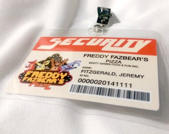 Five Nights at Freddy's - 1980's Freddy Fazbear's Pizza Security ID Cards or Badges