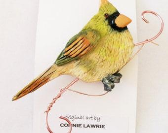 Wearable Original Art/ Female Cardinal Brooch