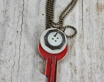 Vintage Key Necklace With Vintage Buttons Red White Brass