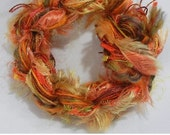Apricot Sunrise - Fifteen 1m cuts of assorted fibres / fibers colorway for mixed media textile art and embroidery stitching