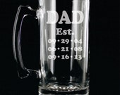 DAD Mug 26 ounce Engraved Beer Mug Fathers Day Gift - Simple Dad Gift - Fathers day gift with kids birthdays birth dates