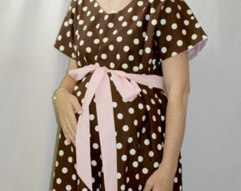 LINED Kristi Maternity Delivery Gown - Brown and Off White Polka Dots - Lined in Your Choice of Color - By Mommy Moxie on Etsy