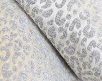Both Sides - Snow Leopard Velvet / Chenille Pillow Cover in Silver Grey