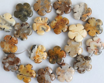 Beautiful Crazy Lace Agate Flower Beads - 16 Inch Strand
