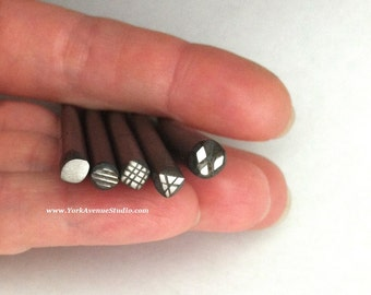 Geo Shapes and Textures Handmade Designer Metal Stamps Tiny Stamps