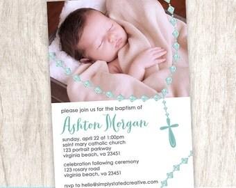 Boy Baptism Photo Invitation, Boys Christening Photo Invite, Religious Event, Blue Modern Rosary - DiY Printable    Blue Rosary Portrait