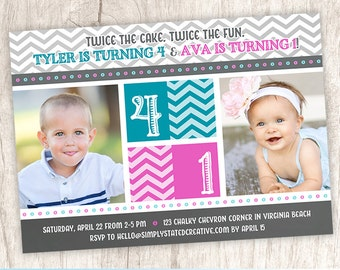 Combined Birthday Party Photo Invitation, Joint Birthday Party Invite, Brother Sister Dual Party  - DiY Printable || Chevron Cuteness Combo