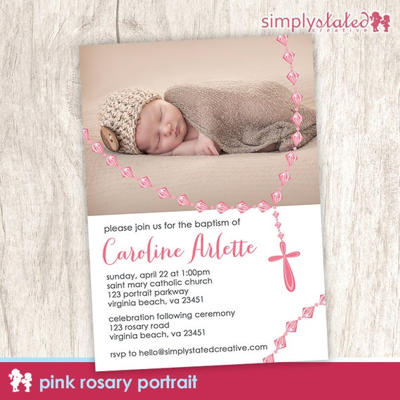 Girl Baptism Photo Invitation, Girls Christening Photo Invite, Religious Event, Pink Modern Rosary - DiY Printable    Pink Rosary Portrait