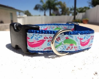 "Sale Small Dog Collar Blue Dolphin  3/4"" width Quick Release buckle adjustable - no martingale limited ribbon"