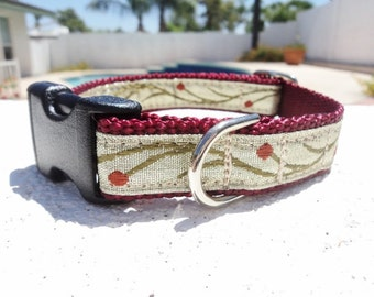"""Dog Collar 3/4"""" or 1"""" wide Quick  Release or Martingale collar Burgundy Flower Vine - upgrade to Martingale"""