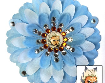 Ahsoka Tano Clone Wars Blue and White Penny Blossom Rhinestone Flower Barrette