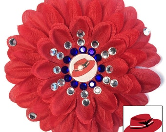 Agent Peggy Carter Red Penny Blossom Sparkly Rhinestone Flower Barrette
