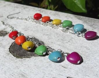 Love Wins Long Earrings - Pride Jewelry - Turquoise Heart Earrings