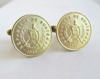 Guatemala Coin Cuff Links - Vintage Brass / Gold Repurposed Coins